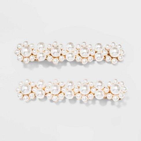 Cultured Pearl Hair Clips 2pc - A New Day™ White - image 1 of 2
