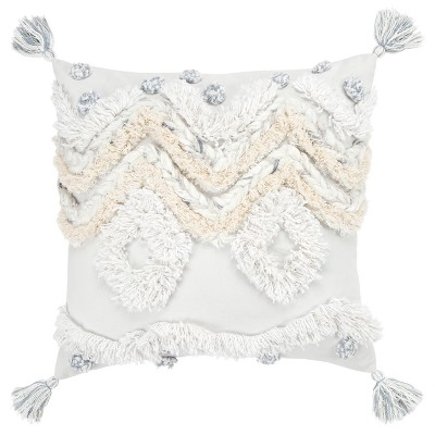 """20""""x20"""" Geometric Decorative Filled Oversized Square Throw Pillow White - Rizzy Home"""
