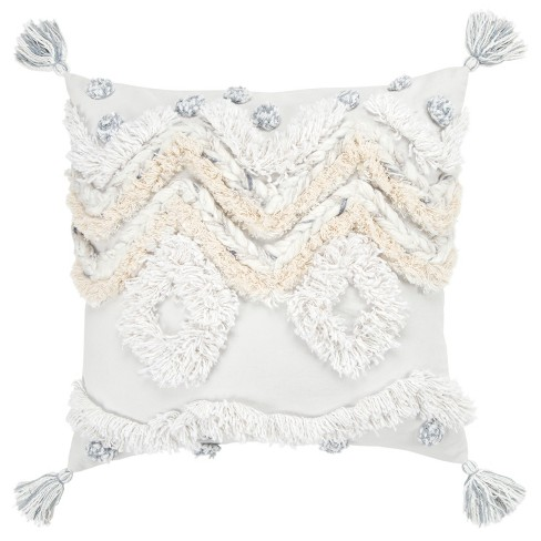 """20""""x20"""" Geometric Decorative Filled Oversized Square Throw Pillow White - Rizzy Home - image 1 of 4"""