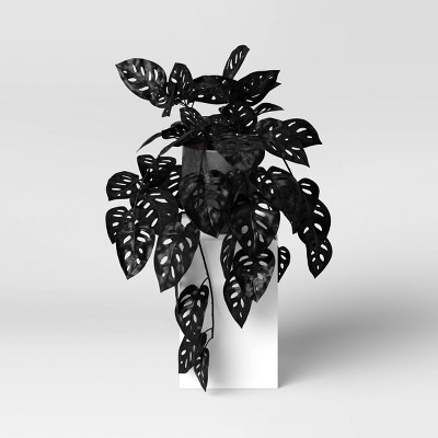 "13"" x 23"" Artificial Black Monstera Plant Arrangement in Ceramic Pot - Threshold™"