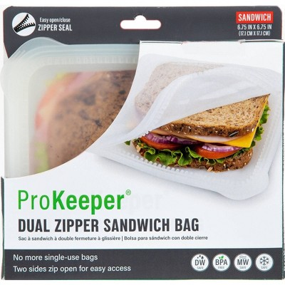 Prepworks ProKeeper Silicone 2 Sided Zipper Sandwich Bag - Clear - 24oz