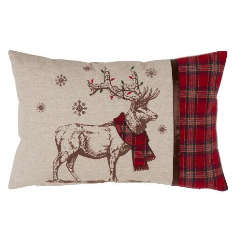 Festive Reindeer Oversize Lumar Throw Pillow Tan - Saro Lifestyle - image 1 of 3