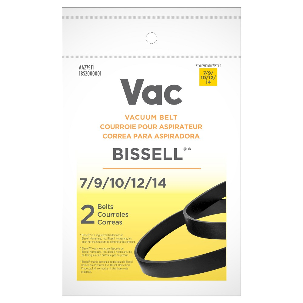 Vac Bissell Type 7/9/10/12 Vacuum Belt, Black Ensure your vacuum keeps up with your cleaning needs when you have the Type 7/9/10/12 Vacuum Belts from Bissell. Including two vacuum belts, this package of important accessories keeps your vacuum cleaner's brush roll rotating, which allows the vacuum to clean carpeting and whisk away dirt. Keep your vacuum running well by replacing your vacuum cleaner belt regularly and always have a spare belt on hand. Color: Black.