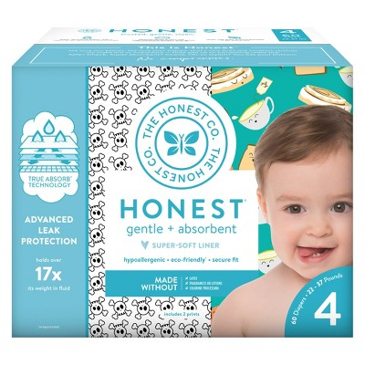 Honest Company Disposable Diapers Skulls & Breakfast - Size 4 (60ct)