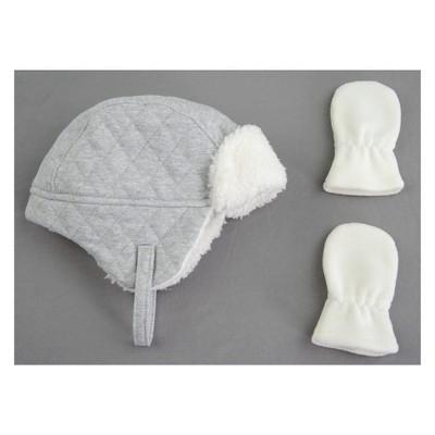Baby Girls' Trapper Hat and Mitten Set - Cat & Jack™ Gray Newborn