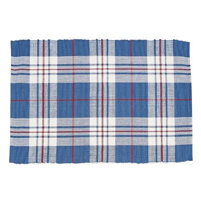 C&F Home Parker Blue & Red Cotton Woven Placemat Set of 6