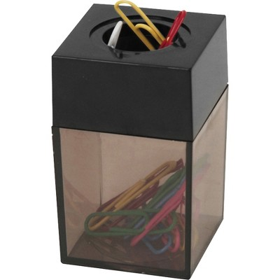 """Business Source Dispenser f/Paper Clips Magnetic 2""""x3"""" Smoke/Black 11796"""
