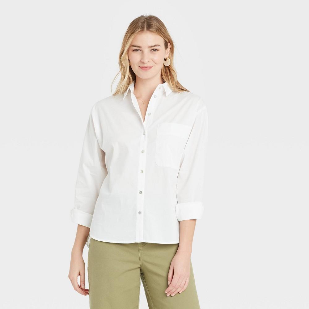 Women 39 S Long Sleeve Button Down Boyfriend Shirt A New Day 8482 White Xs