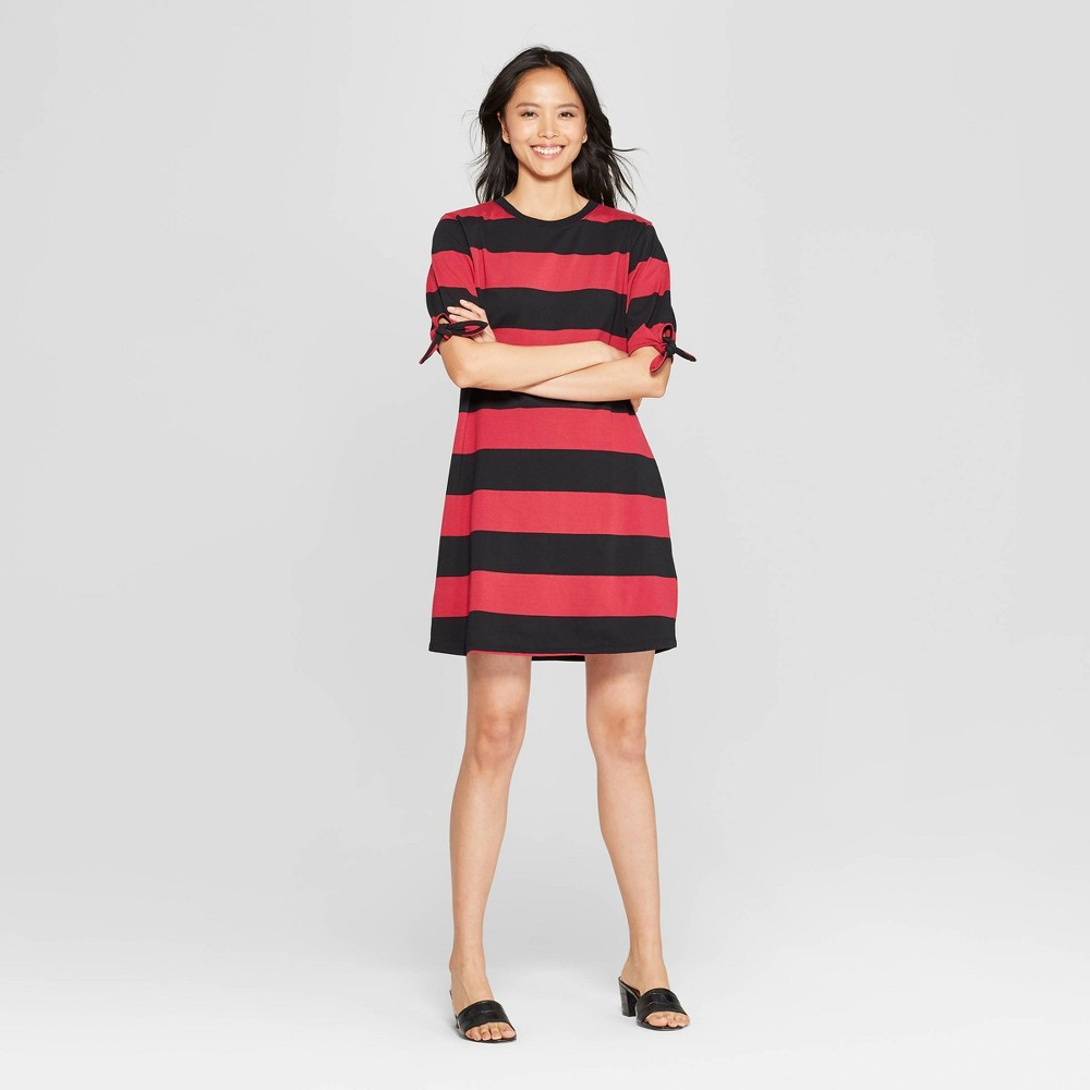 Women's Striped Short Knotted Sleeve Crewneck T-Shirt Dress - Who What Wear Red/Black M