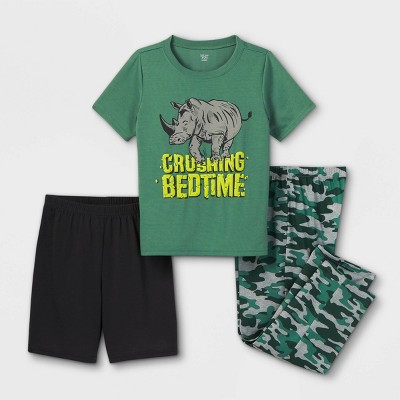 Boys' 3pc Rhino Pajama Set - Just One You® made by carter's Green/Gray