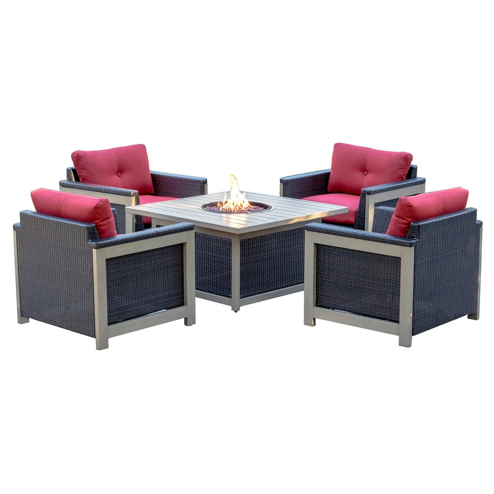 Montana 5pc All-Weather Wicker Patio Chat Set w/ Fire Pit Table - Red - Hanover, Pink