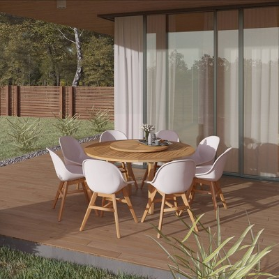 Athy 9pc Patio Dining Set with Round Table & Lazy Susan - Amazonia