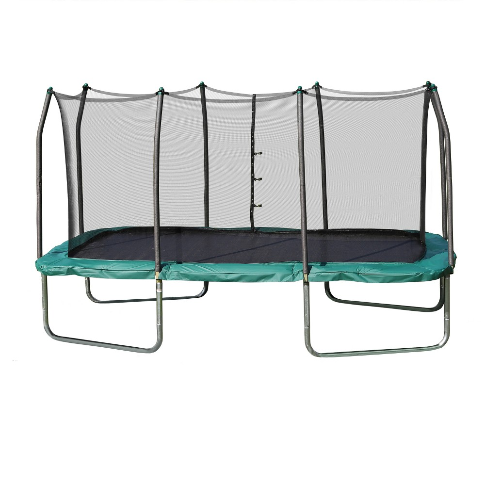 Skywalker Rectangle Trampoline with Enclosure - Green (14'), Clear
