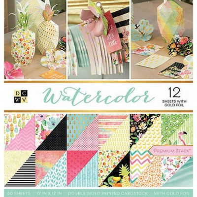 """DCWV Double-Sided Cardstock Stack 12""""X12"""" 36/Pkg-Watercolor, 18 Designs/2 Each"""