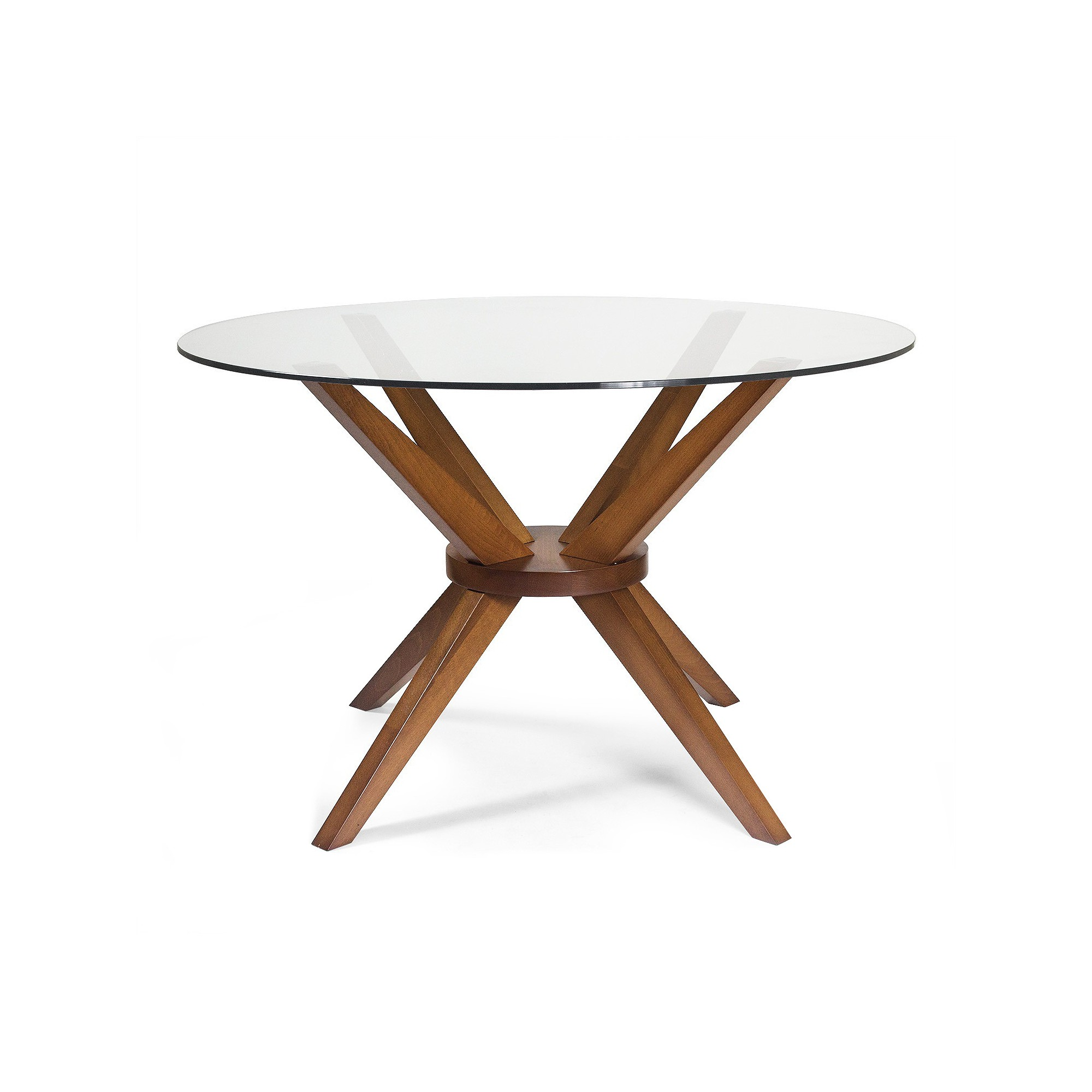 Bianca Round Dining Table with Glass Top - Walnut (Brown) - Aeon