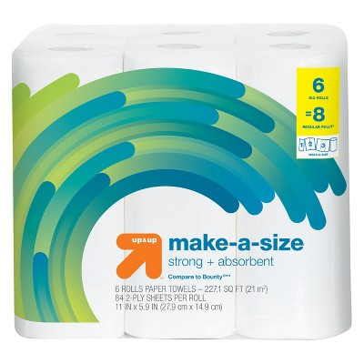 Make-a-Size Paper Towels - 6 Big Rolls - Up&Up™ (Compare to Bounty)