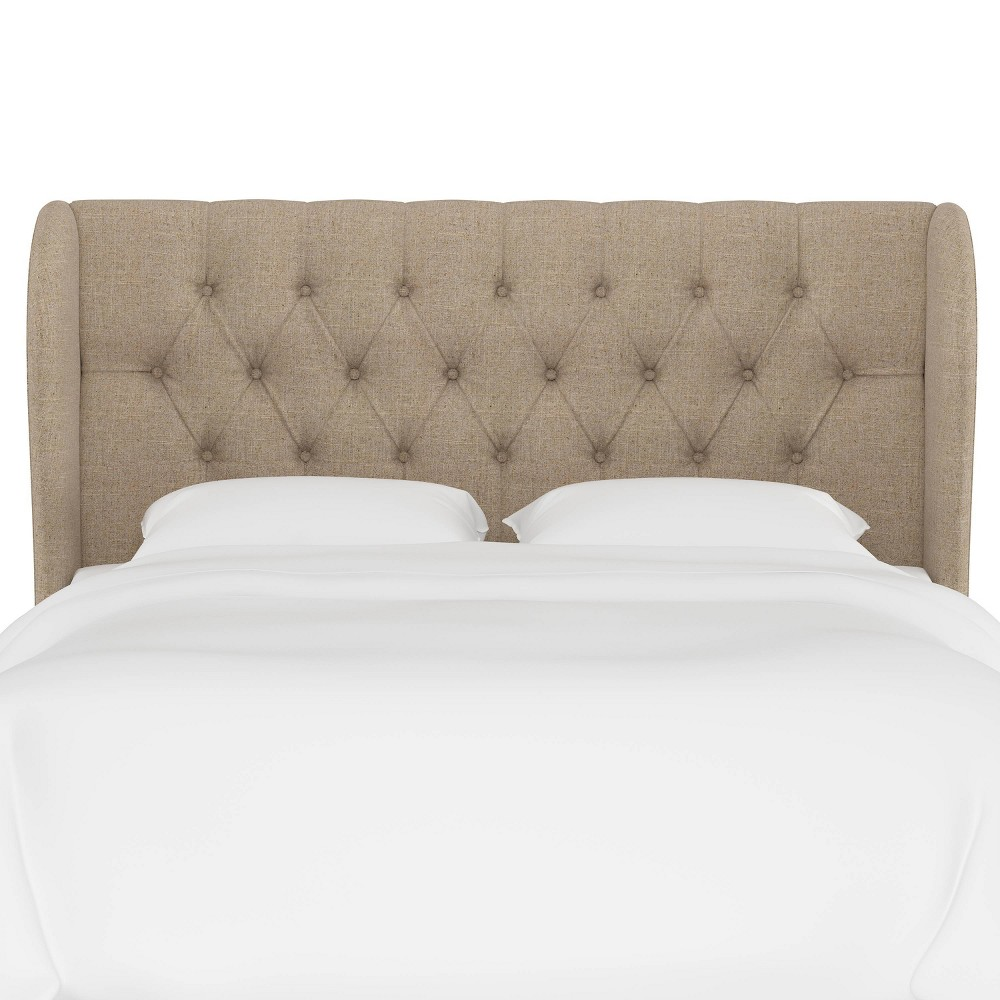Check price Queen Tufted Upholstered Wingback Headboard Sandstone Linen - Threshold