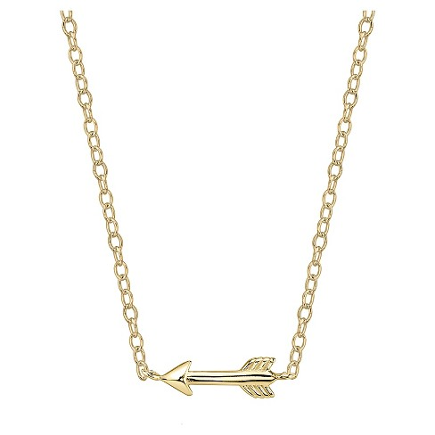 "Women's Sterling Silver Arrow Station Necklace - Gold (18.4"") - image 1 of 1"