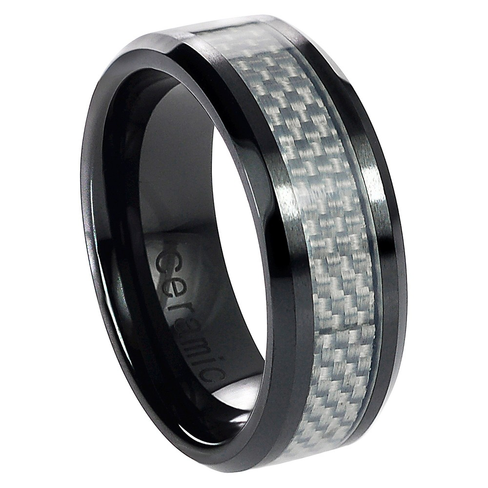 Men's Daxx Ceramic Band with Carbon Inlay - White/Black (12)
