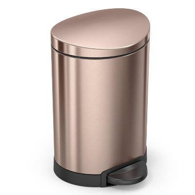 simplehuman 6L/1.6gal Semi-Round Stainless Steel Trash Can Rose Gold