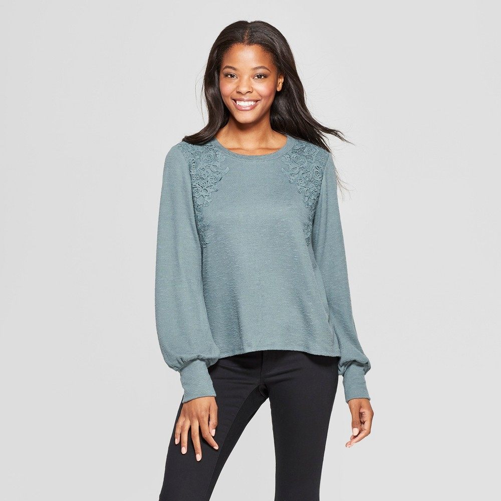 Women's Long Sleeve Lace Front Hacci Top - Xhilaration Jade (Green) S