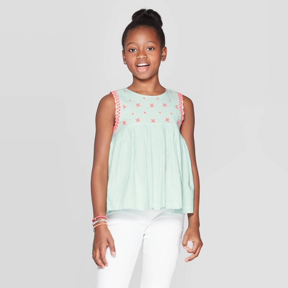 Girls' Butterfly Print Blouse - Cat & Jack Aqua XL, Green