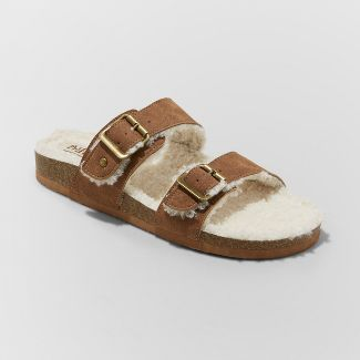 Women's Mad Love Kali Multi Strap Sherpa Footbed Sandals - Cognac 11