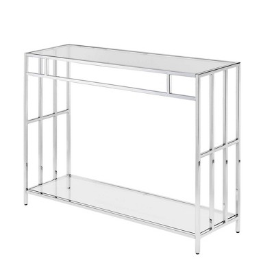 Mission Glass Console Table Chrome - Breighton Home