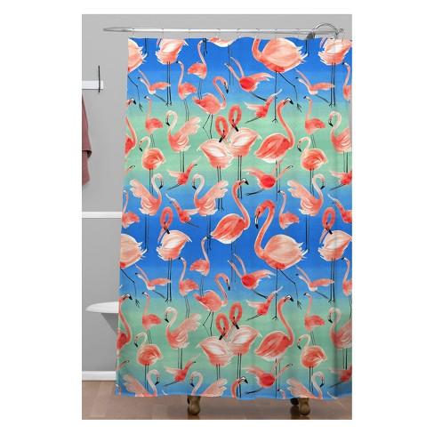 Ninola Design Summer Pink Flamingos Shower Curtain