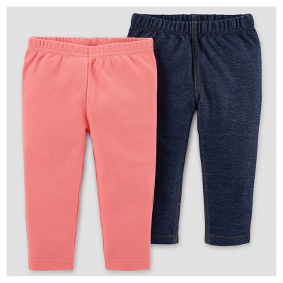 Baby Girls' 2pk Pants - Just One You™ Made by Carter's® Coral/Dark Blue 6M