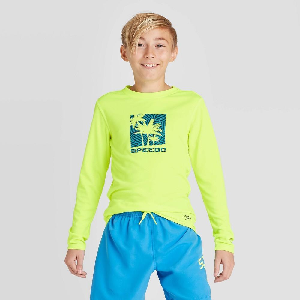 Speedo Boys 39 Razzle Palm Long Sleeve Swim Rash Guard Swim Shirt