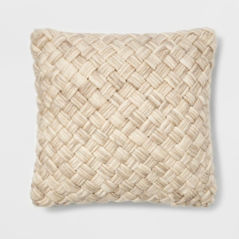 Chunky Woven Square Throw Pillow Cream (Ivory) - Threshold