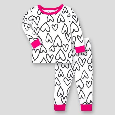 Lamaze Baby Girls' 2pk Heart Printed Organic Cotton Thermal Underwear Set - Black/White 9M