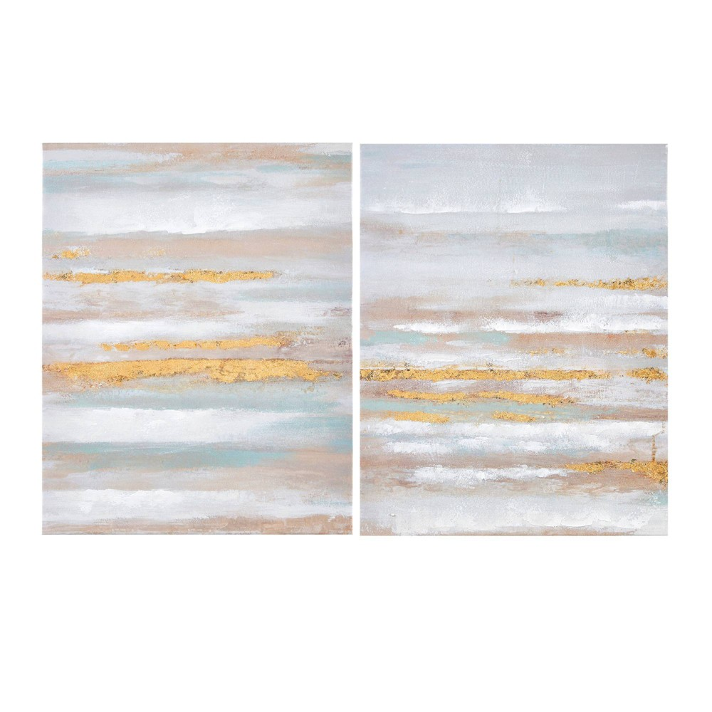Image of 2pc Seafoam Aurora Canvas Art In Heavy Textured Gold Foil