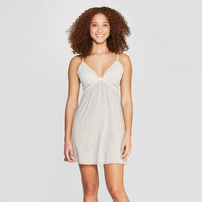 Women's Beautifully Soft Lace Trim Nightgown - Stars Above™ Gray L