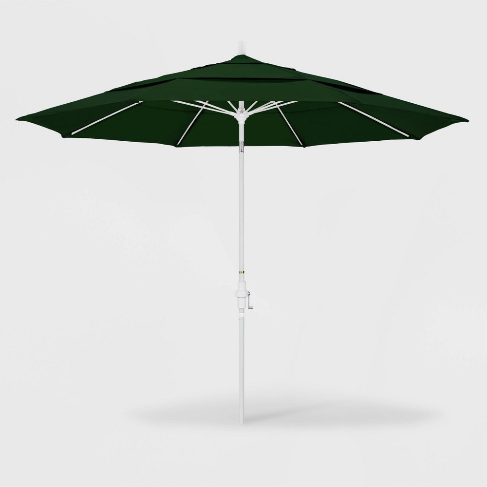 Image of 11' Sun Master Patio Umbrella Collar Tilt Crank Lift - Pacifica Hunter Green - California Umbrella