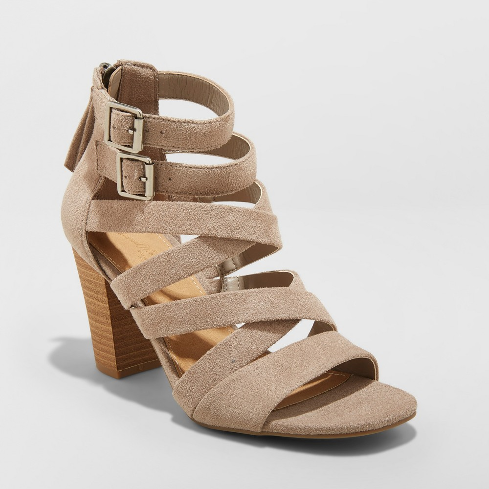 Women's Emmie Wide Width Thick Strap Heeled Pumps - Universal Thread Gray 5.5W, Size: 5.5 Wide