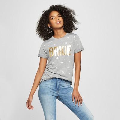 Women's Short Sleeve Bride Gold Foil Diamond Print T-Shirt - Modern Lux Gray M