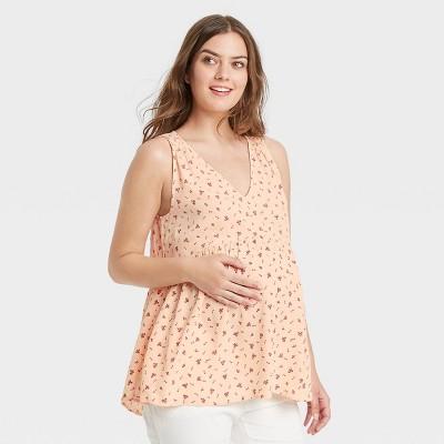 The Nines by HATCH™ Sleeveless V-Neck Smocked Shoulder Crepe Maternity Blouse Coral Pink Floral Print