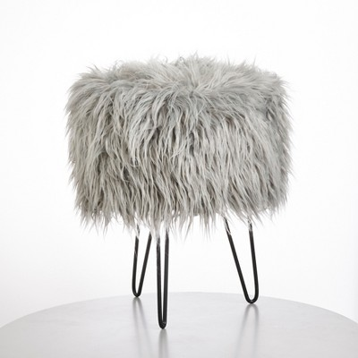 Patrice Faux Fur Stool Gray - Buylateral
