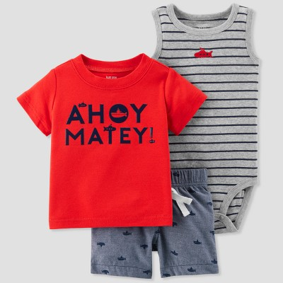 Baby Boys' 3pc Ahoy Matey Set - Just One You® made by carter's Red 3M