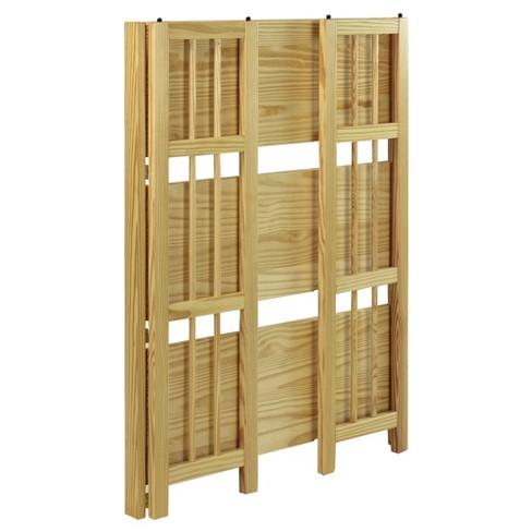 folding 38 3 tier bookshelf stackable natural target - Folding Bookshelves