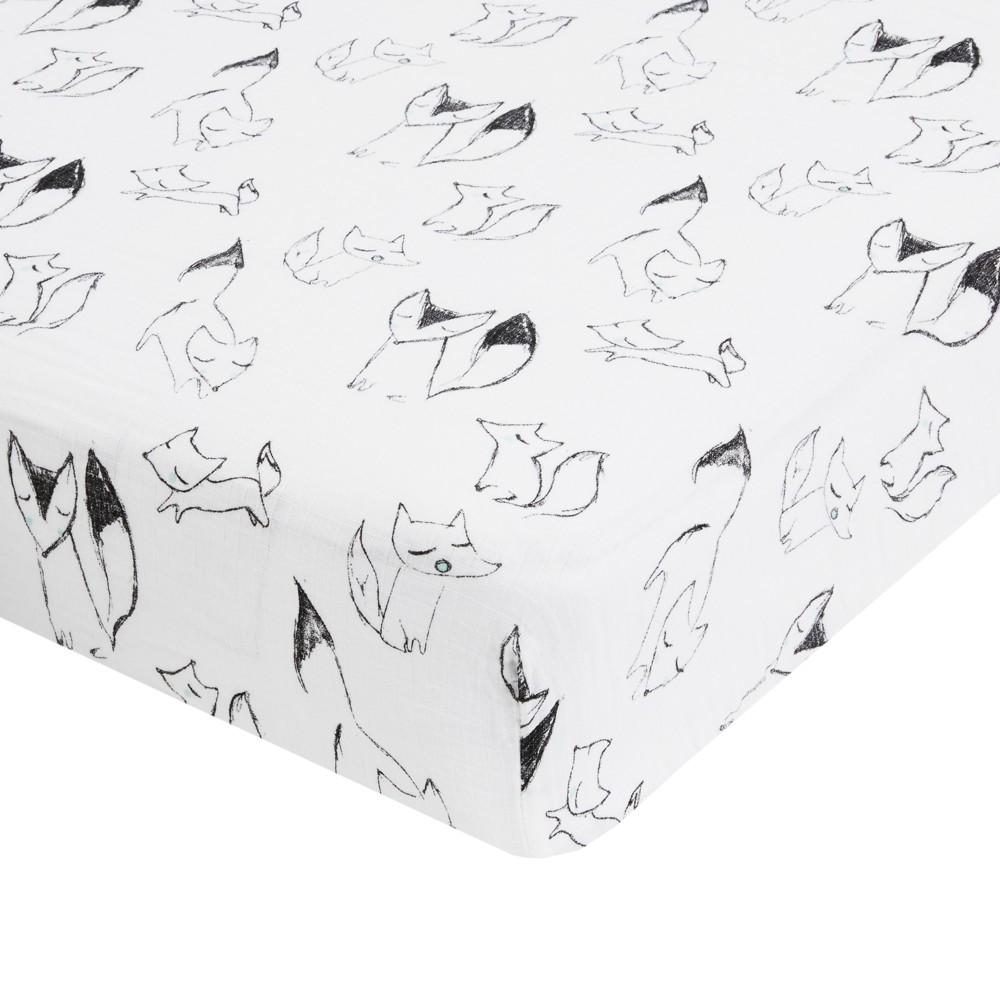 Image of Aden by Aden + Anais Crib Sheet - Trotting Fox - Gray