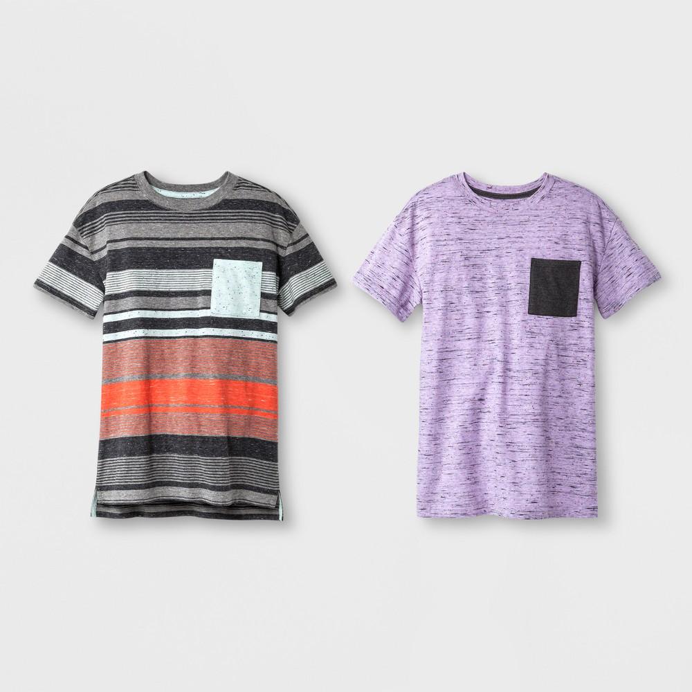 Boys' 2pk Short Sleeve Stripe T-Shirt - Cat & Jack Purple/Aqua L, Blue Purple