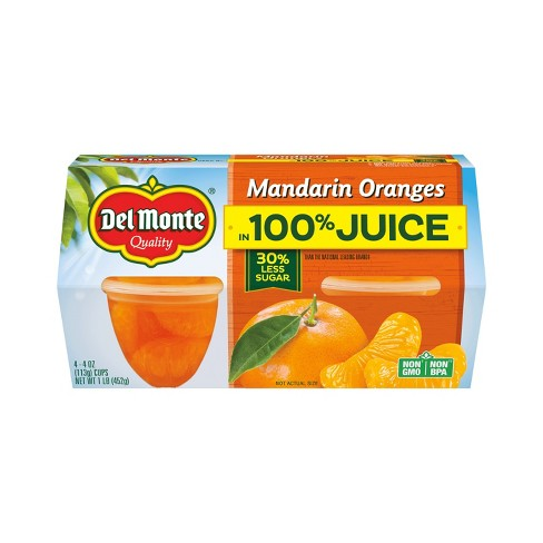 Del Monte® Mandarin Orange Segments In Light Syrup Fruit Cups - 4ct - image 1 of 1