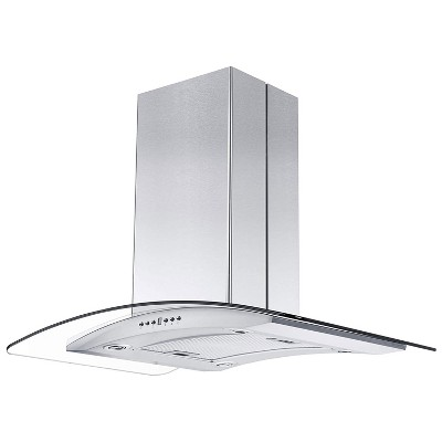 ZLINE GL14i-36 400 CFM 36 Inch Middle Island Mount Ductless Range Hood with 4 Speed Motor and LED Lights, Stainless Steel and Glass Style