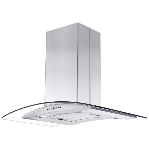 Zline Gl14i 36 400 Cfm 36 Inch Middle Island Mount Ductless Range Hood With 4 Speed Motor And Led Lights Stainless Steel And Glass Style Target