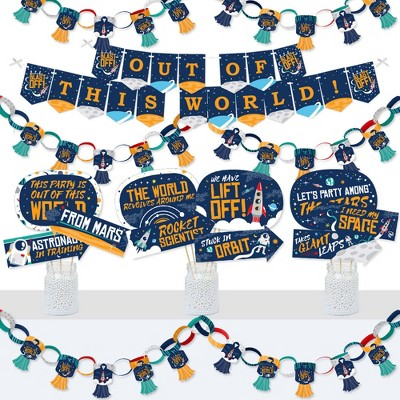Big Dot of Happiness Blast Off to Outer Space - Banner & Photo Booth Decor - Rocket Ship Baby Shower or Birthday Party Supplies Kit -Doterrific Bundle