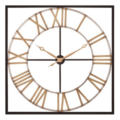 """36"""" Square Metal Cut out Roman Numerical Wall Clock Bronze/Gold - Patton Wall Decor"""