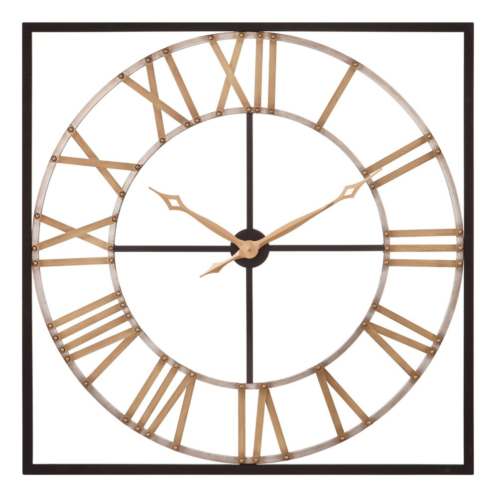 """Image of """"36"""""""" Square Metal Cut out Roman Numerical Wall Clock Bronze/Gold - Patton Wall Decor"""""""